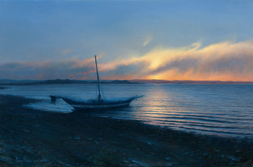 Closing The Day, Lake Turkana • 2011 • 14  x 22 • Oil on linen • Kenya • Available Tilting at Windmills Gallery