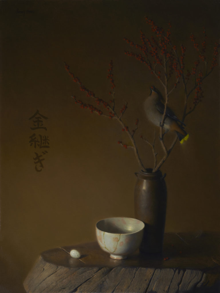 Kintsugi • 2016 • 24 x 18 • Oil on linen • Bohemian Waxwing