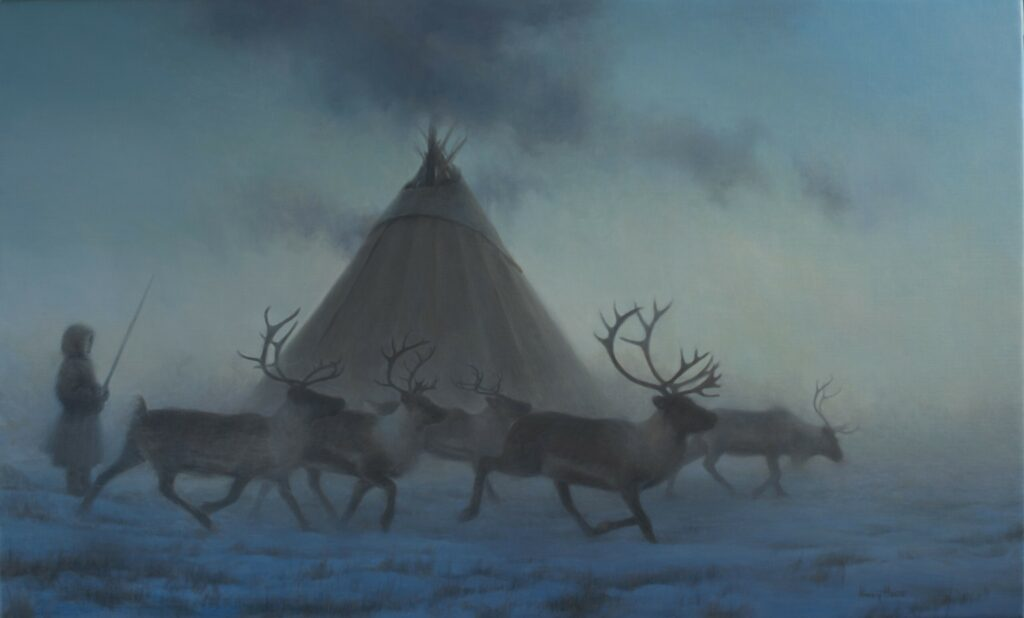 True North  • 2019  •  22 x 36  •  oil on linen  • indigenous reindeer camp, arctic
