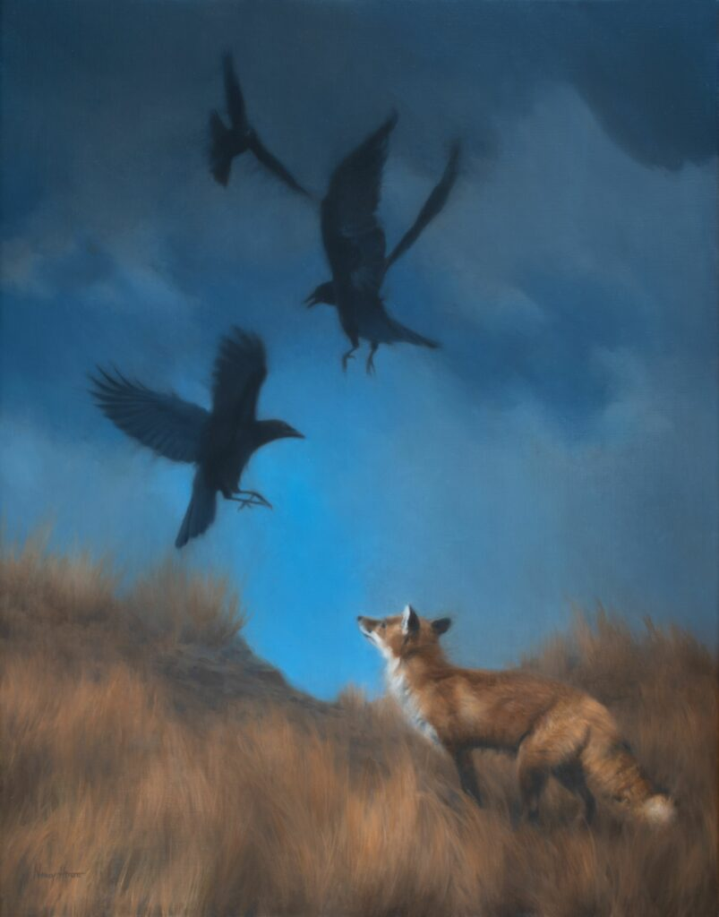 Frank Conversations • 2020 • 28 x 22 • oil on linen • American Crows and Red Fox